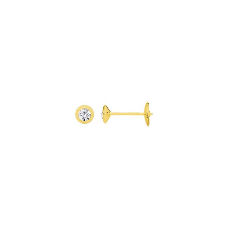 Boutons d'oreilles Diamants 0,28 Carat G SI serti clos Or jaune