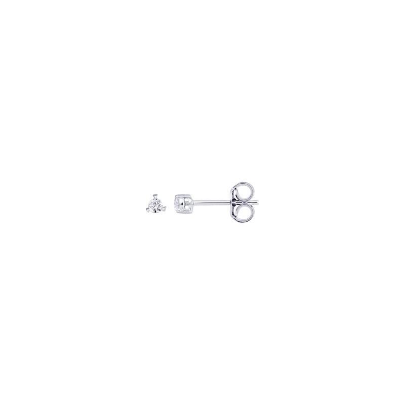 Boutons d'oreilles Diamants 0,08 Carat G SI 3 griffes Or blanc