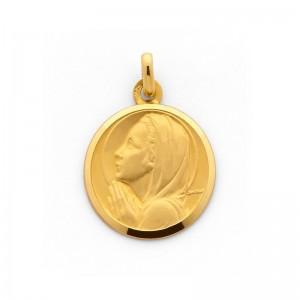 Médaille Vierge en prière 18mm Or Jaune 9 carats-1