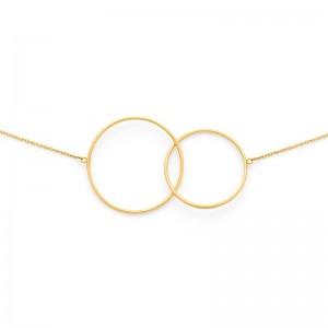 Collier avec motif 2 Cercles 22mm et 26mm Or jaune