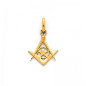 Pendentif symbolique Etoile, Equerre et Compas Or jaune