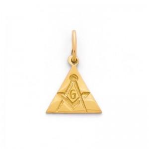 Pendentif symbolique triangle gravé Compagnon Or jaune