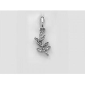 Pendentif symbolique Branche d'acacia longue Or blanc