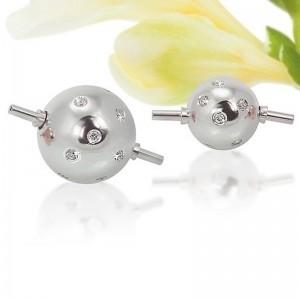 Fermoir interchangeable Diamants parsemés boule 10mm Or blanc