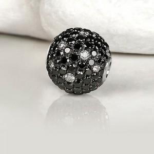 Fermoir interchangeable 152 Diamants Noirs & Blancs boule 12mm