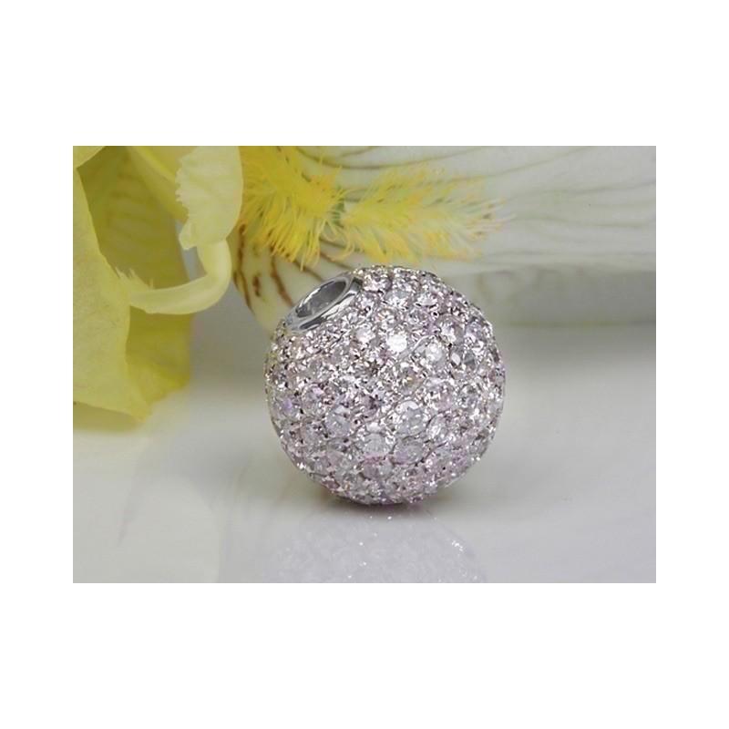 Fermoir interchangeable Diamants boule 10mm Or blanc