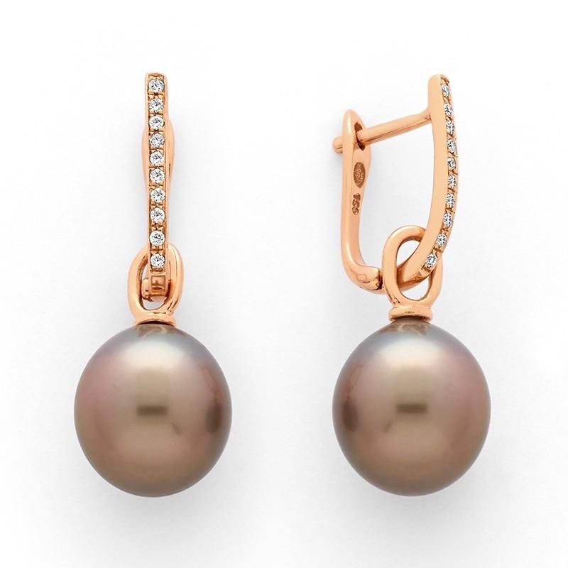 Boucles d'oreilles Perles de culture de Tahiti 9-10 mm rondes Diamants Or rose