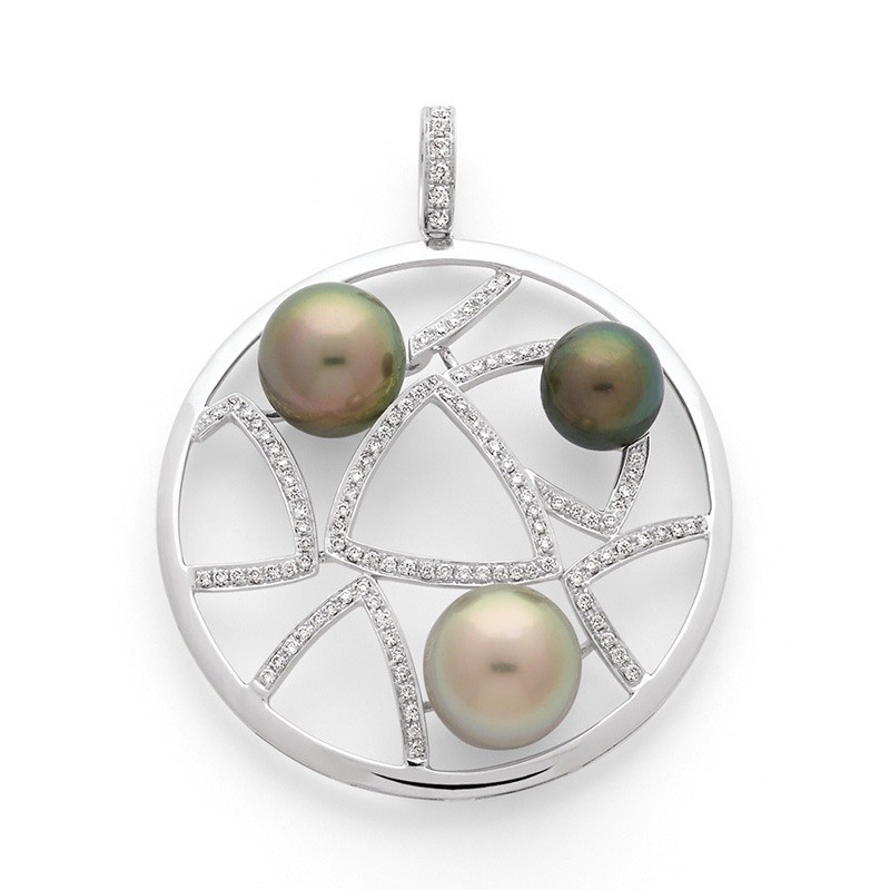 Pendentif 3 perles de culture de Tahiti et Diamants 0,67 Carat G SI Or blanc