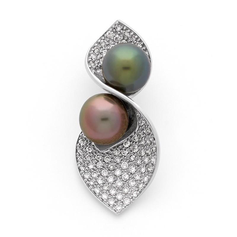 Pendentif 2 perles de culture de Tahiti et Diamants 1,28 Carats Or blanc