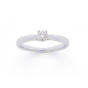Solitaire Diamant 0,20 Carat G SI2 4 griffes croisées Or blanc