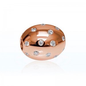 Fermoir Interchangeable olive 11x9mm Diamants 0,27 Carat H SI Or rose