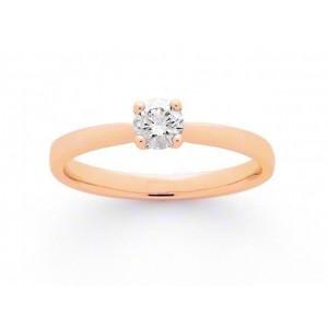 Solitaire Diamant 0,21 Carat F VVS 4 griffes Or rose