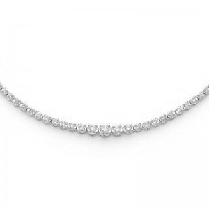 Collier Diamants 3,00 Carats H SI rivière 4 griffes Or blanc