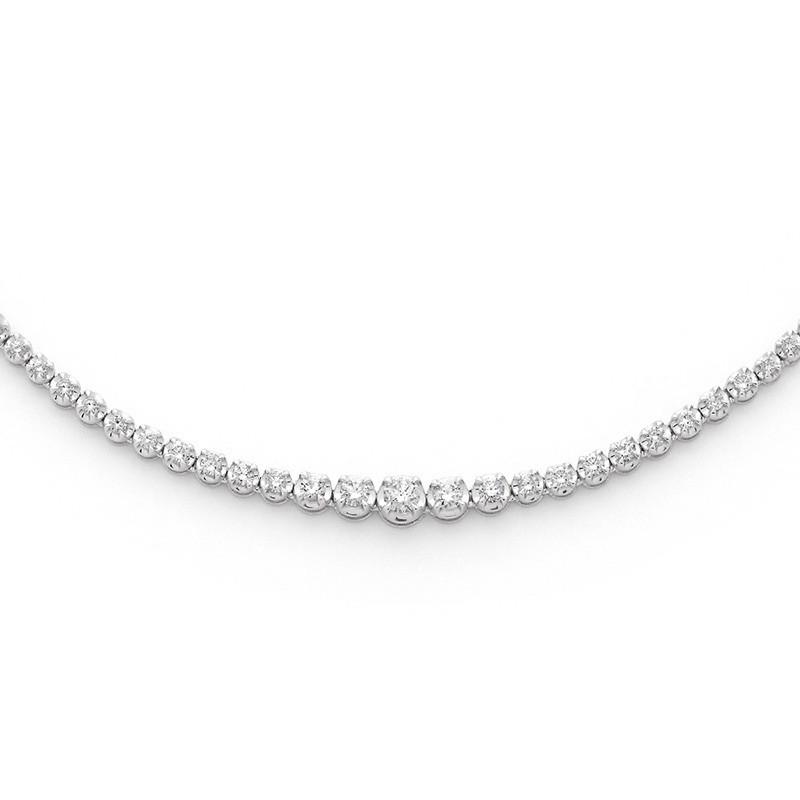Collier Diamants 3,00 Carats H SI rivière 4 griffes Or blanc