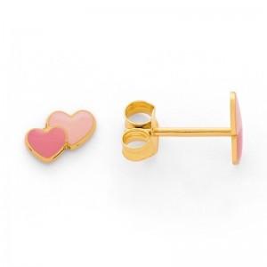 Boucles d'oreilles enfant deux Cœurs laqués rose Or jaune