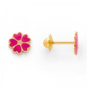 Boucles d'oreilles enfant Fleurs fuschias à vis Or jaune