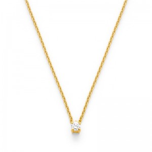 Pendentif Diamant 0,10 Carat G SI 4 griffes bélière invisible Or jaune