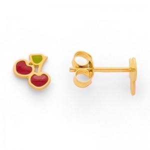 Boucles d'oreilles enfants Cerises laquées rouge et vert Or jaune