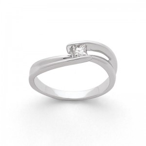 Solitaire Diamant taille princesse 0,20 Carat G SI double Twists Or blanc
