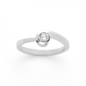 Solitaire Diamant 0,22 Carat H SI Spirale Or blanc