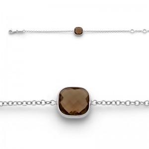 Bracelet joaillerie Quartz fumé Or blanc