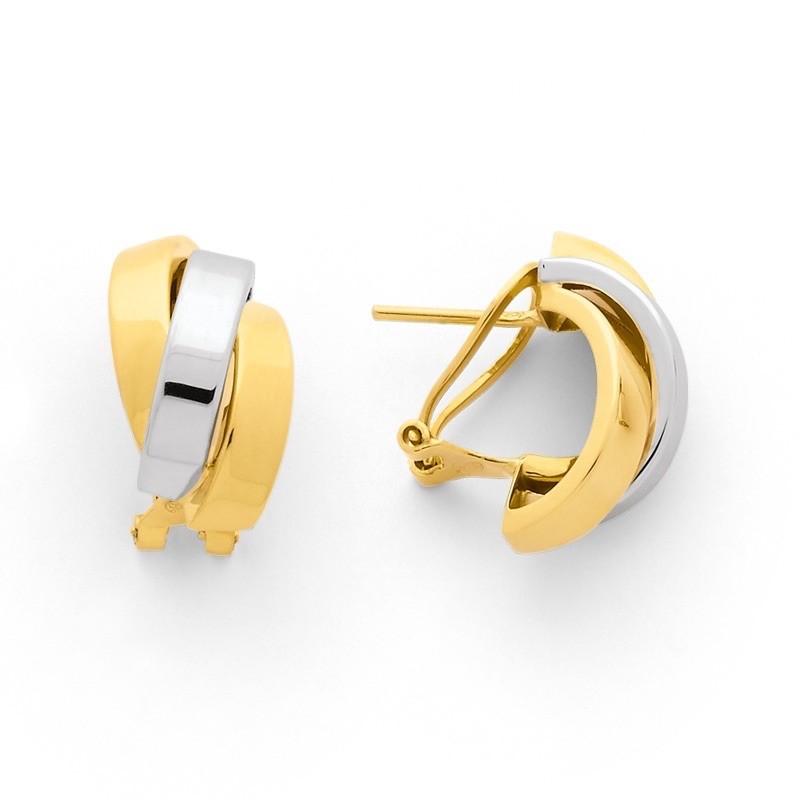 Créoles 3 anneaux fil plats 20x10mm systèmes clips Or jaune et Or blanc