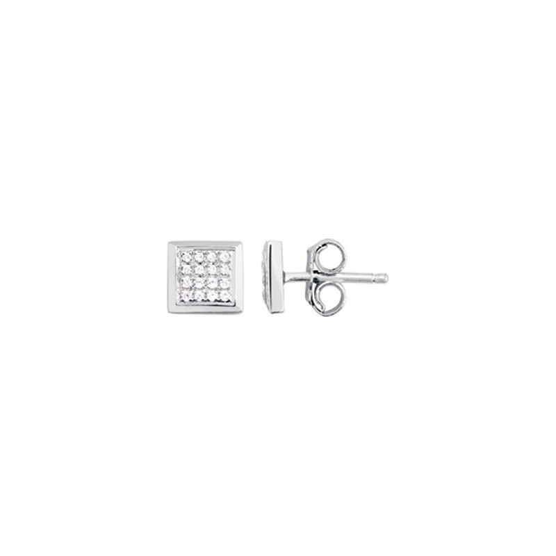 Boucles d'oreilles Diamants 0,12 Carat pavage carré Or blanc