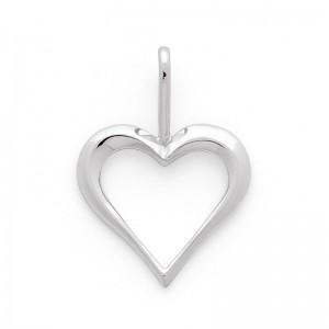 Pendentif cœur Or blanc 17mm