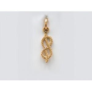 Pendentif symbolique Lac d'Amour façon corde Or jaune