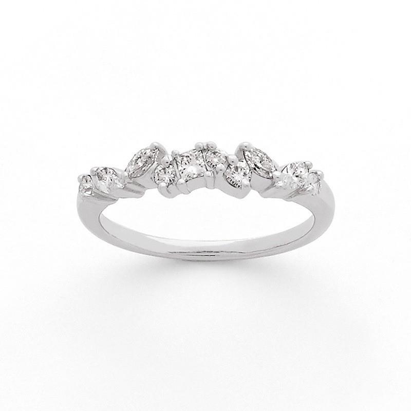 Alliance Diamants 1/2 tour Or 0,35ct navette brillant princesse Or blanc