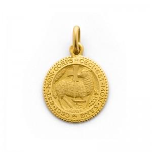 Médaille Becker symbole chrétien agneau mystique 18mm Or jaune