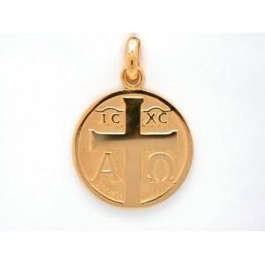 Médaille Becker symbole chrétien : symbole croix 18mm Or jaune