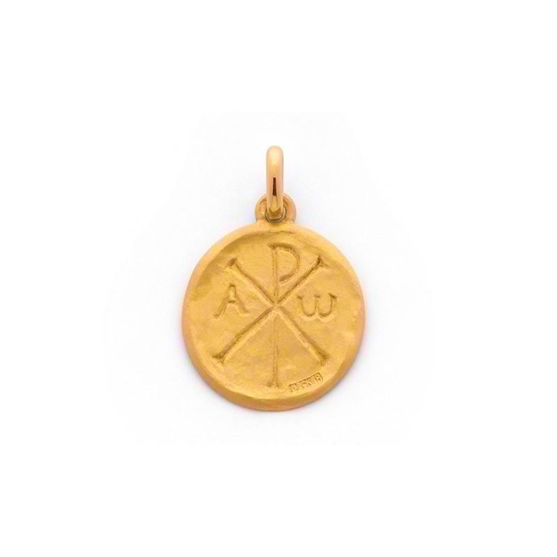 Médaille Becker symbole chrétien chrisme 20mm Or jaune