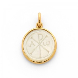 Médaille Becker Chrisme Nacre 19mm Or jaune
