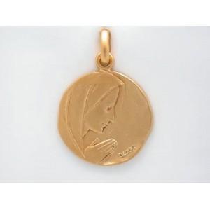 Médaille Becker Vierge prière 18mm Or jaune