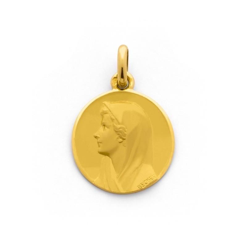 Médaille Becker Vierge au voile 18mm Or jaune