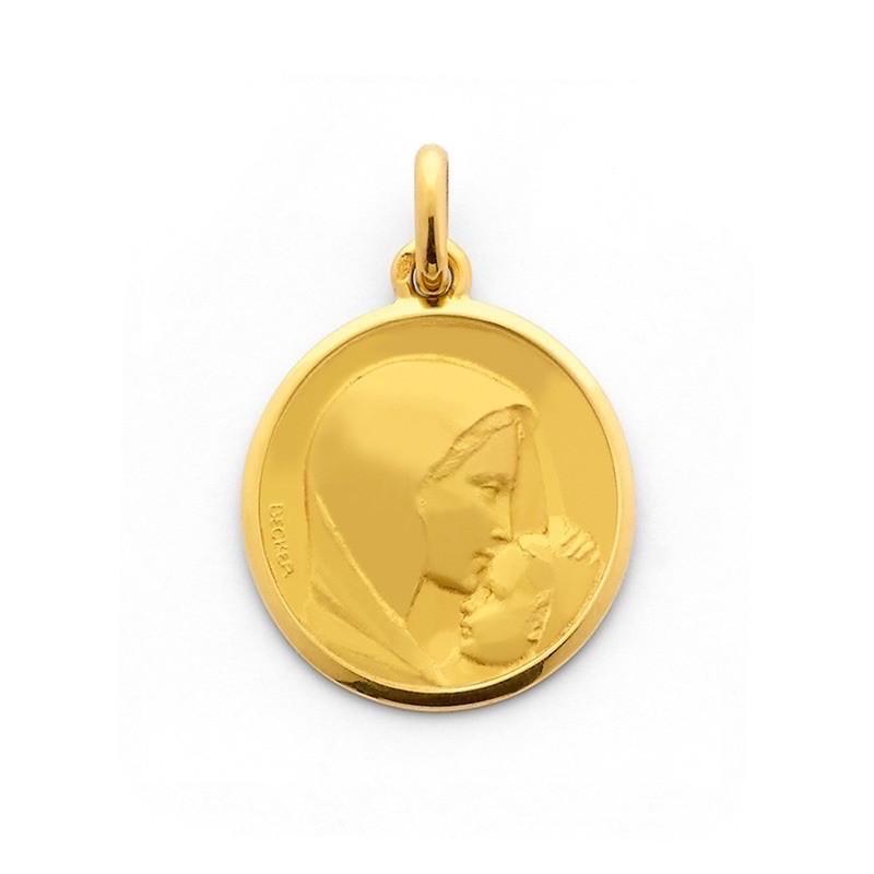 Médaille Becker Vierge Le baiser 20mm Or jaune