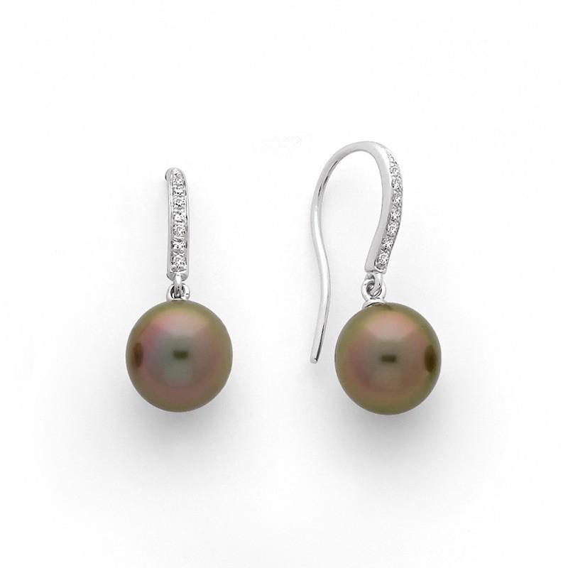 Boucles d'oreilles Perles de culture de Tahiti 8,4mm rondes Diamants Or blanc