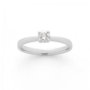 Solitaire Diamant 0,19 Carat F SI 4 griffes Or blanc