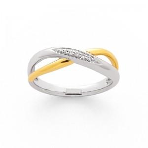 Bague Diamants 0,04 Carat H P1 Or blanc et Or jaune