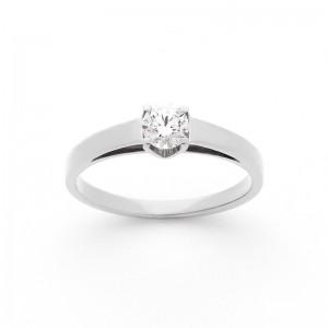 Solitaire Diamant 0,20 Carat G SI2 4 griffes Or blanc