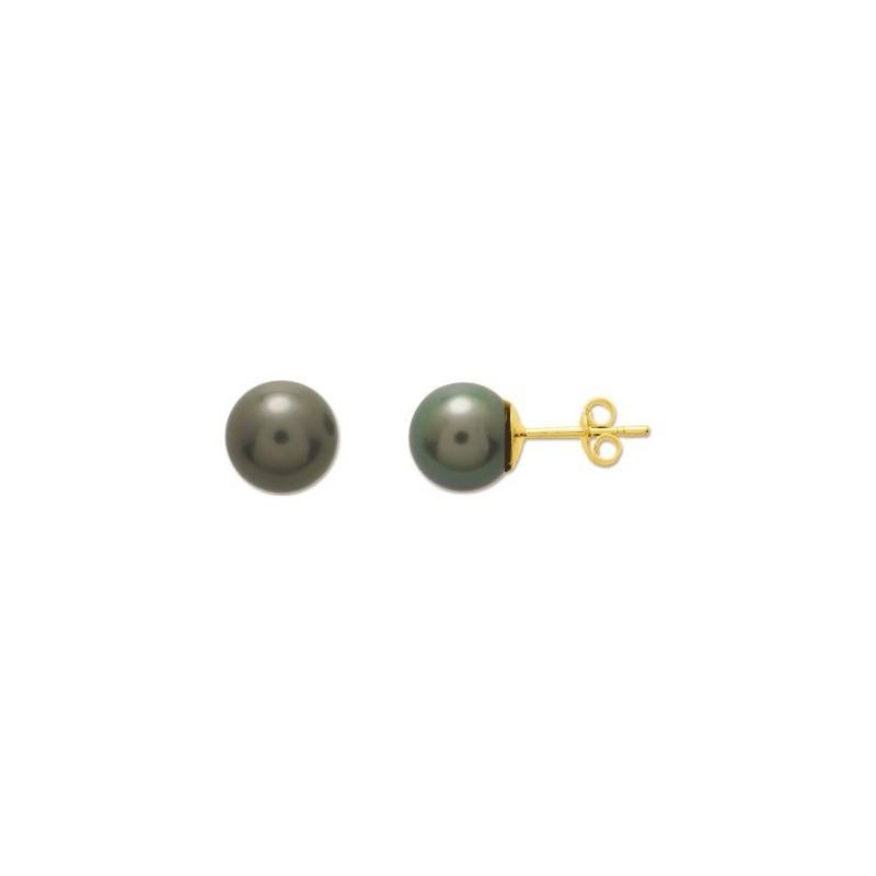 Boucles d'oreilles Perles de culture de Tahiti 8,5-9 mm rondes Or jaune