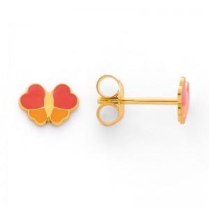 Boucles d'oreilles enfant Papillon laqués orange or jaune