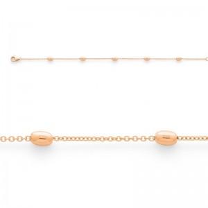 Bracelet mailles Forçat et Olives 3mm Or rose