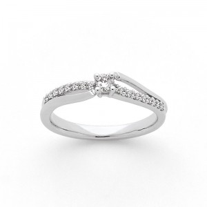 Solitaire Diamant 0,10 Carat G SI 4 griffes accompagné 0,10 Carat Or blanc
