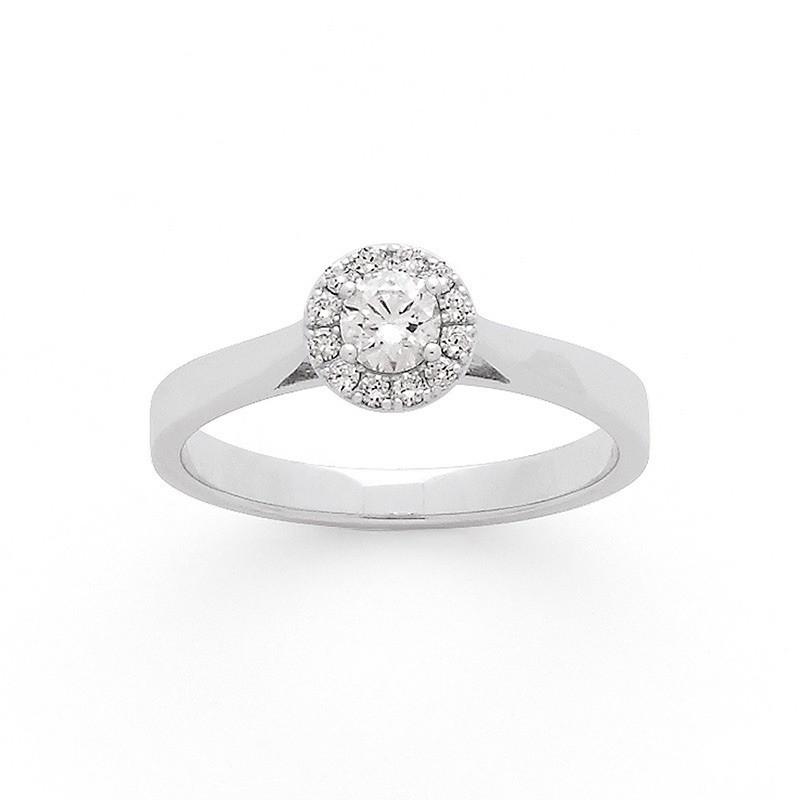 Solitaire Diamant 0,20 Carat H SI1 4 griffes entourage 0,09 Carat Or blanc