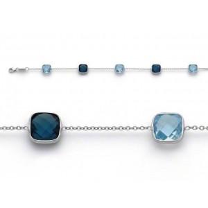 Bracelet joaillerie Topazes bleues et bleues London Or blanc