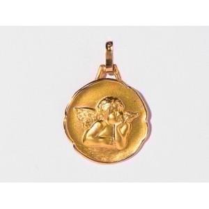 Médaille Ange de Raphaël 17mm Or jaune