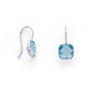 Boucles d'oreilles Topaze bleue Coussin briolettée 8mm Or blanc