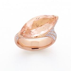 Bague Morganite 12,83 Carats et Diamant 1,35 Carats G VS Or rose